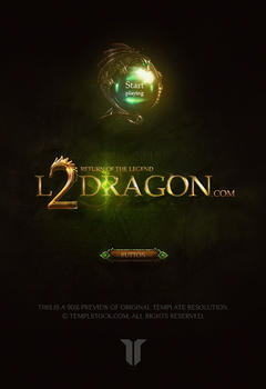 L2 Dragon Game Logo PSD Template